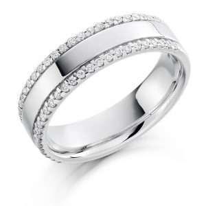 18ct White Gold 2 Row Diamond Ring