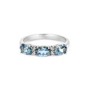18ct Aquamarine and Diamond Eternity Ring