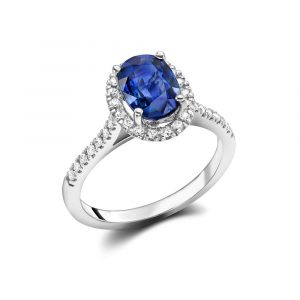 18ct Sapphire and Diamond Halo Ring