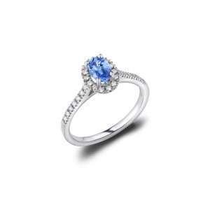 18ct Tanzanite and Diamond Halo Ring