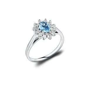 18ct Aquamarine and Diamond Cluster