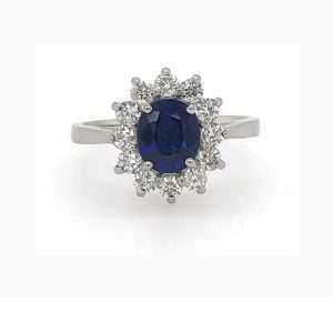 Platinum Sapphire and Diamond Cluster Ring