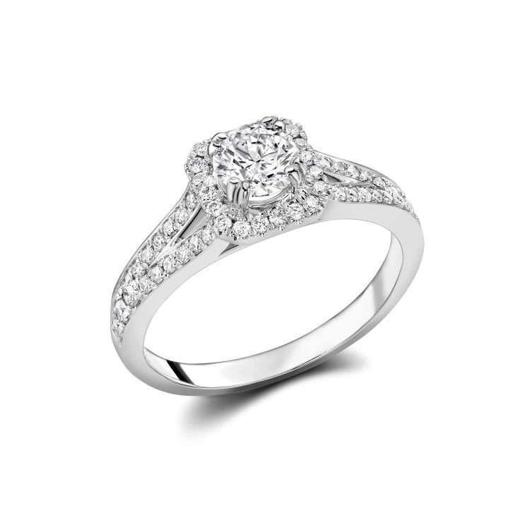 18ct Halo Engagement Ring, 0.83ct