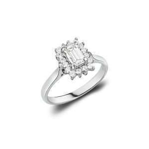 18ct Emerald Cut Diamond Engagement Ring