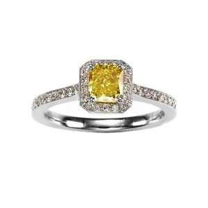 Platinum GIA Vivid Yellow Diamond Cluster Ring