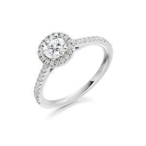 Platinum Round Brilliant Cut Diamond Halo Ring, ENG3753