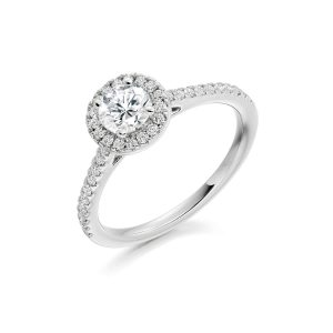 Platinum Emerald Diamond Halo Ring, ENG4044