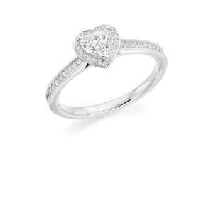 Platinum Heart Cut Diamond Engagement Ring
