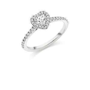 Platinum Heart Cut Diamond Halo Ring