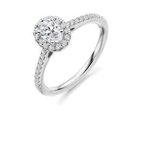 Platinum Oval Diamond Halo Ring, ENG4013