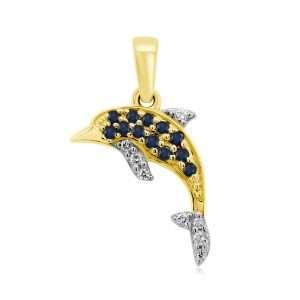 9ct Sapphire and Diamond Dolphin Pendant