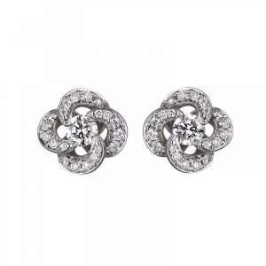 Shaun Leane Diamond Entwined Petal Stud Earrings : EN045.WGWHEOS