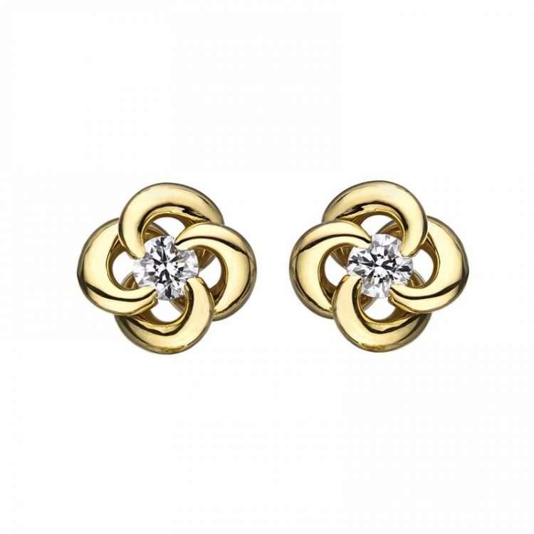 Shaun Leane 18ct Yellow Gold Entwined Petal Flower Earrings, EN044.YGWHEOS