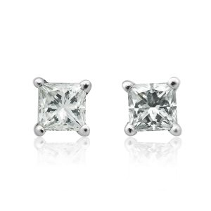 18ct Princess Cut Diamond Solitaire Earrings, 1.40ct
