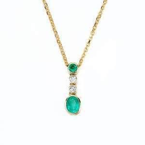 18ct Gold Emerald and Diamond Pendant