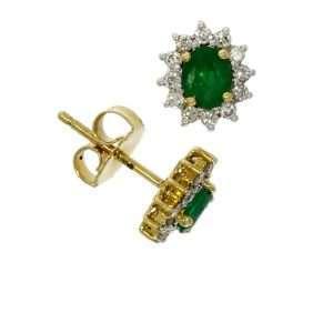 18ct Emerald & Diamond Oval Star Cluster Stud Earring