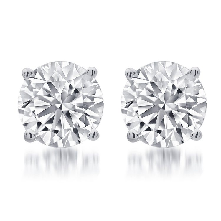 18ct White Gold 1.00ct Diamond Studs, GIA Certificated