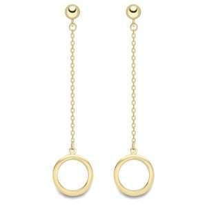 9ct Circle, Yellow Gold, Drop Earrings