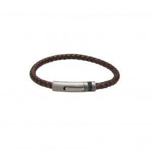 Unique and Co Brown and Steel Leather Bracelet