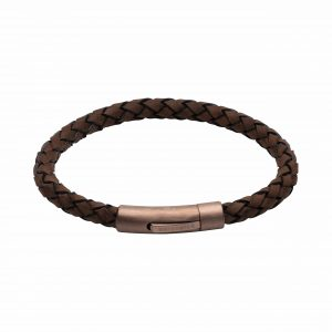 Unique and Co Brown and Copper Steel Leather Bracelet