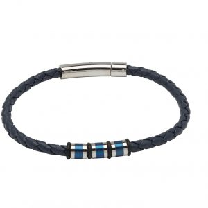 Unique and Co Blue Leather Bracelet with Beads