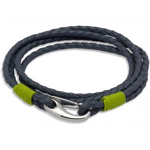 Unique and Co Blue and Lime Leather Bracelet