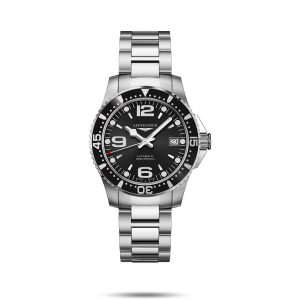 Longines HydroConquest, Black, Stainless Steel : L3.741.4.56.6