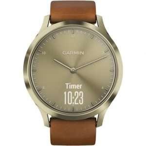 Garmin Vivomove HR Watch with Brown Leather Strap: 010-01850-05