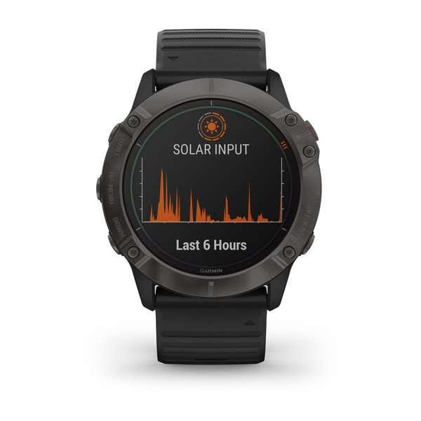 Garmin fenix® 6X - Pro Solar Edition Pro Solar, titanium carbon grey DLC with black band : 010-02157-21