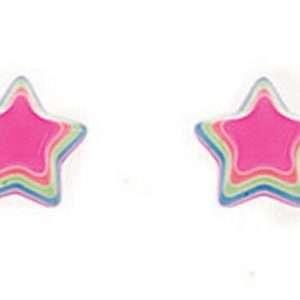 Girls Multi Colour Fluorescent Star Stud Earrings