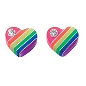 Girls Multi Colour Heart Stud Earrings