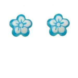 Girls Blue Flower Stud Earrings