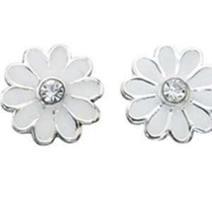 Girls White Daisy Stud Earrings
