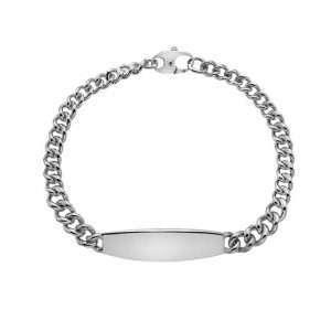 Rivoli Silver Graduated Curb ID Bracelet