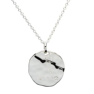 Zodiac Constellation Pendant, Pisces, Sterling Silver