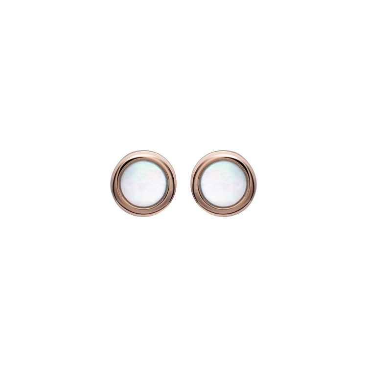 Unique and Co Mother of Pearl Stud Earrings, gold plated : 1557076