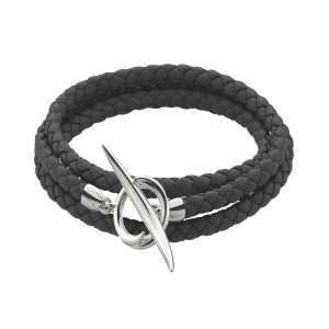 Shaun Leane Silver Quill Leather Bracelet : QU020.SSBKBZM
