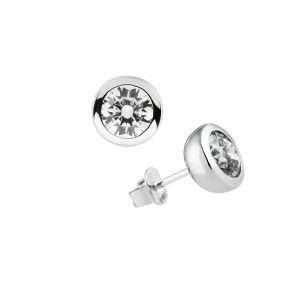 Diamonfire Silver Rub Over Earrings : 62/1777/1/082