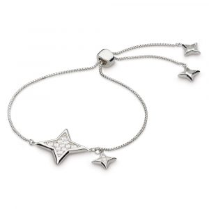 This cubic zirconia set sparkling star bracelet has a twinkling guiding star to create a truly celestial look. Fully adjustable with a toggle fastening, it teams beautifully with our Astoria starburst collection.