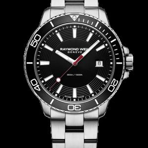 Tango 300 Men's Quartz Steel Black Diver Watch, 42mm stainless steel, black dial, black anodized aluminum unidirectional bezel