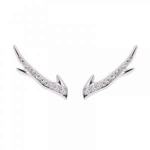 Shaun Leane Silver Cherry Blossom Diamond Branch Earrings : CB018.SSWHEOS