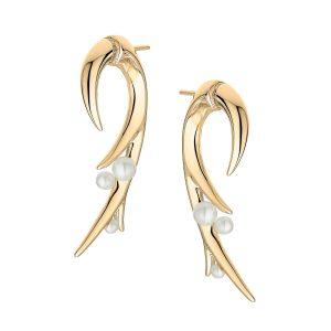 Shaun Leane Gold Vermeil Hooked Pearl Large Earrings : CB052.YVAEOS