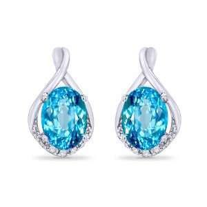 9ct Diamond and Topaz Earrings : 0210042