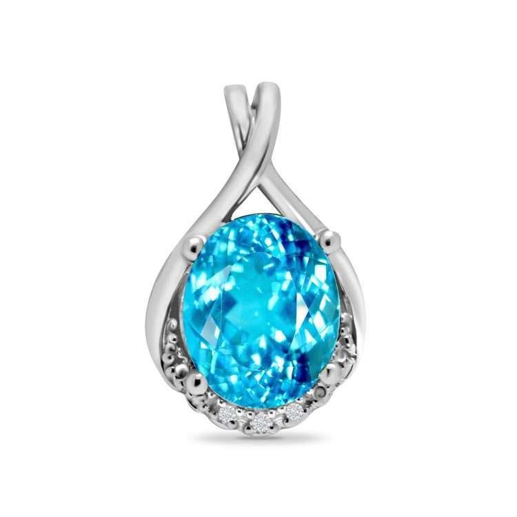 9ct Diamond and Topaz Pendant : 0205036