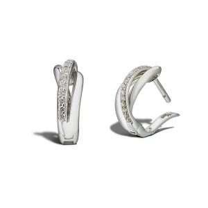 18ct Diamond Crossover Huggie Earrings : 0257685