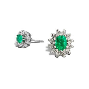 18ct Emerald and Diamond Cluster Earrings : 0270028