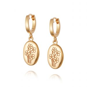 Daisy Forget Me Not Drop Earrings, Gold Plated: FE02_GP