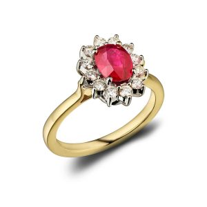 18ct Ruby and Diamond Cluster Ring : 0141027