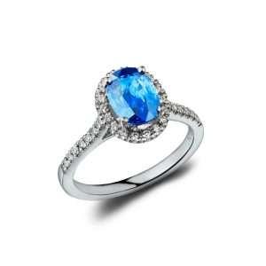 18ct Sapphire and Diamond Halo Ring : 0150081