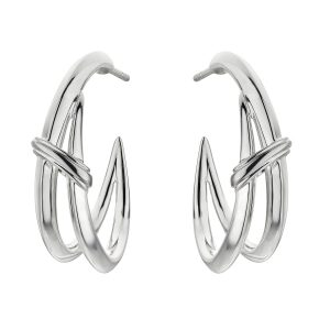 Shaun Leane Sabre Deco Silver Twist Hoop Earrings : SA074.SSNAEOS